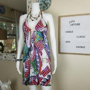 Trina Turk abstract halter mini dress Sz Small